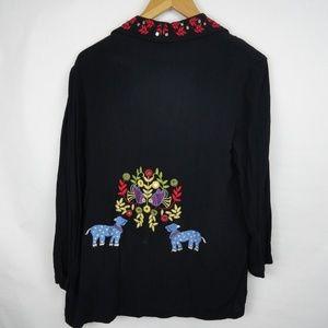 Chicos Design Cardigan Size 1 Black Asian Rayon